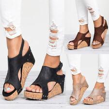 AU Womens Summer Sandals Platform Wedge Heels Ladies Open Toe Beach Shoes Size