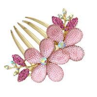 Hot Fashion Women Lady Girl Flower Alloy Rhinestone Barrette Hair Clip Comb FG