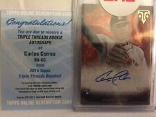 CARLOS CORREA 2015 Topps Triple Threads on Card Auto! 61/99 + USED Redemption