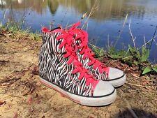 SKECHERS Hi Tops ZEBRA GLITTER PINK SPARKLE Walking Athletic Girls Shoes Sz 5