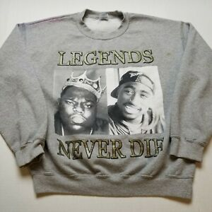 Legends Never Die Sweatshirt Mens L Tupac Biggie 2pac Rap Notorious Gray C95