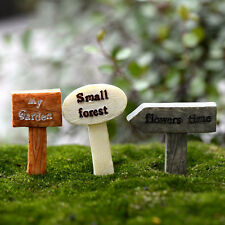 3Pcs Miniature Fairy Garden Craft Resin Signpost DIY Micro Landscape Decor New.
