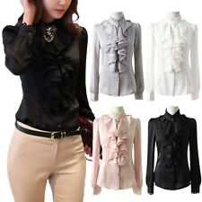 3 FOR GBP 39.99 Shiny Hippie Shirt Satin Blouse Ruffle lace Collar Work Top Size