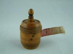 GORGEOUS VICTORIAN DECORATIVE TURNED TAPE MEASURE BARREL FORM WITH TAPE WINDER