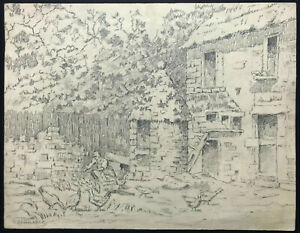 FRENCH VICTORIAN Drawing ~ HENRI MANASSE ~ c.1900 Graphite HOUSE OF J.F. MILLET