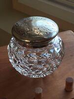 Vintage Cut Glass Bowl, Etched Design Silver Plate Lid - Dresser or Tobacco Jar