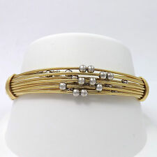 NEW 18k Two Tone Gold Moving Beads Cuff Bangle Bracelet Stress Relief
