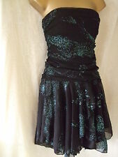 NEW £40 ***SALE***SIZE 14 JANE NORMAN RUCHED GLITTER DRESS - BLACK & TEAL