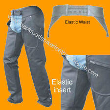 Mens Women Ladies Leather Motorcycle Biker Chaps Elastic Waist Elastic Thigh