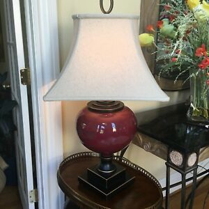 Anka Collection by Uttermost Cranberry Ginger Jar Ceramic Table Lamp W/Linen Sh
