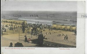 GENUINE VINTAGE POSTCARD,BEACH AND BATHING STATION,ABERDEEN,SCOTLAND,1904