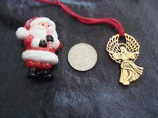 "14"" Gold Tone ANGEL Pendant Necklace & Hallmark Cards Brand SANTA Lapel Pin"