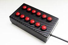 BBJ Simracing PC USB 12 caja de interruptor de botón de función Rojo/Carbono