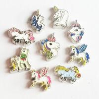 10pcs Random Mix Unicorn Floating Charms Locket For Living Memory Glass Lockets