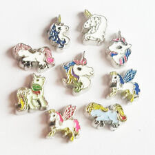 10pcs Random Mix Unicorn Floating Charms Locket For Living Memory Glass Lockets