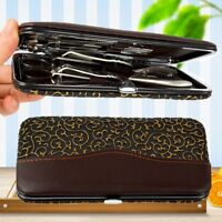 Stainless Nail Clippers Kit Manicure Pedicure Set Cuticle Grooming Case12Pcs/set