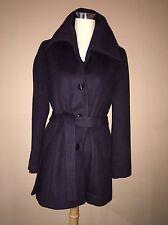 Calvin Klein Dark Purple Wool Blend Lined Winter Coat Jacket Belted Sz.8- M, L