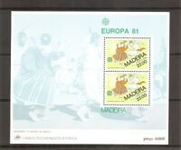 Portugal Madeira SC # 74a EUROPA 1981 (O Barihho Folk Dance) Souvenir Sheet. MNH