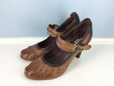Crown Vintage Born Brown Leather Mary jane High Heel 6 Retro Mod EUC Career