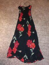 Vintage Party Dress Floral Print Beads Details Size M