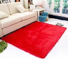 Hot Fluffy Rugs Anti-Skiding Shaggy Area Rug Dining Room Carpet Floor Mat Red GA