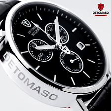 DETOMASO Milano Swiss ISA Chronograph Mens Watch S-Steel Black Leather New