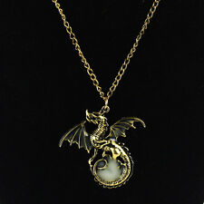 Men's Glow in the Dark Dragon Pendant Necklace Chain Luminous Vintage gold Hot