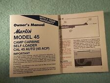 MARLIN MODEL 45 CAMP CARBINE  OWNER'S MANUAL, dated 7/99 - much info for Camp 45