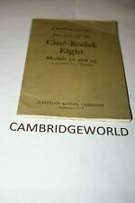 Cine Kodak Eight Mod 20 25 Camera Instruction Manual Guide Book Original Genuine