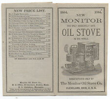 1884 Monitor Oil Stove Advertising Folder with Graphics Cleveland Ohio