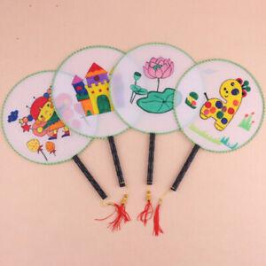 White Elegant Hand Fan Gong fan blank children DIY art painted fanE.bu