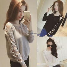 Korean Women Casual Lace Crew Neck Bandage Hollow Loose Slim T-shirt Blouse Top