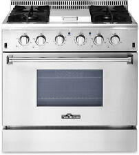 "Thor Kitchen 36"" 4 Burner Gas Range w/ Griddle - HRG3617U Stainless Steel Cooker"