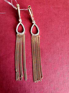 70 mm dangling chains CZ Earrings silver 925 rose gold 14k plated NWT stamped
