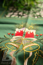 "Green Square Table Cloth, Embroidered Christmas Candle&Bells, 90cm (36"")FFD002G"