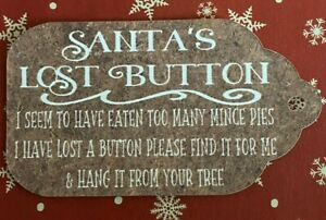 SANTA LOST BUTTON TAGS  - KRAFT LUGGAGE STYLE - CHRISTMAS EVE - WHITE FONT