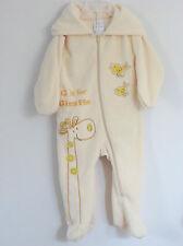 ABSORBA Size 6-9 Months Boy Yellow Fleece Long Sleeves Hooded Bodysuit Romper