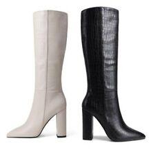 41/42/43 Women Ladies Punk Gothic  Alligator Print Block Heel Knee High Boots L
