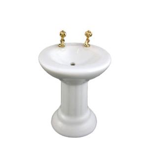 Dolls House White Porcelain Sink Basin Miniature 1:12 Scale Bathroom Furniture