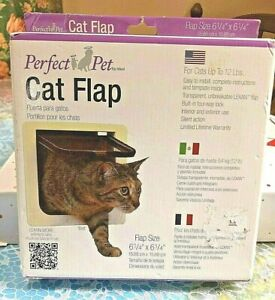 PERFECT PET CAT FLAP-FOR CATS UP TO 12 LBS.-EASY TO INSTALL- 4-WAY LOCK -NEW