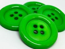 4 GIANT BRIGHT GREEN 50mm LARGE PLASTIC CLOWN BUTTONS SEWING AND FANCY DRESS