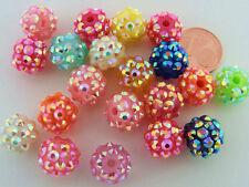 20 perles rondes 12mm acrylique aspect recouvert de strass Mix DIY bijoux RES-08