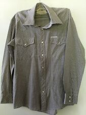 AUTHENTIC WESTERN vintage mens size Small 90cm shirt brown check pearl snaps