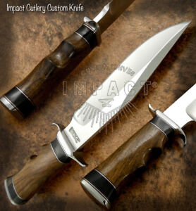 IMPACT CUTLERY RARE CUSTOM D2 COMBAT BOWIE KNIFE BURL WOOD HANDLE
