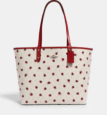 NWT Authentic  Coach Women Reversible City Tote With Ladybug Print