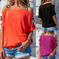 Plus Women Blouse Cold Off Shoulder Ladies Summer T Shirt Loose Casual Tops NEW