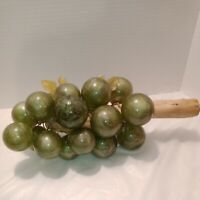 Vintage Glass Green Grapes Mid Century Modern Marble Look Wooden Stem