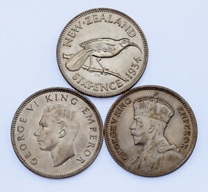 Lot of 3 New Zealand 6 Pence Silver Coins 1934 - 1943 XF - AU