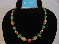 "Jay King Blue Gemstone Graduated Beads 22"" Gold Tone Necklace Marked DTR"