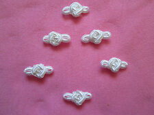 6 WHITE SATIN ROSE BOW KNOTS APPLIQUE'S